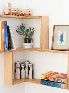 Corner shelf: display cabinet book vintage mid-century unit furniture retro art Danish shadow box modern contemporary wall art book shelves by Senkki Furniture