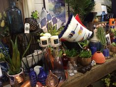 Vibrant blue and orange shop display at Lavish Abode home decor, gift and interior store in Lilydale Vic