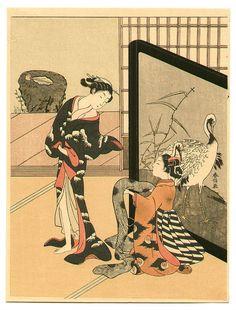 Suzuki Harunobu Title:Ladies and Crane Screen