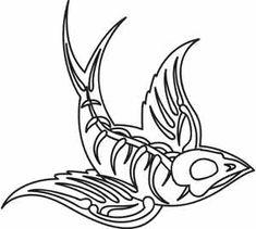 "Swallow Skeleton design (UTH3438) from UrbanThreads.com 5.20""w x 4.84""h"