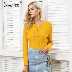7f51774e7a Simplee O neck tie up knitted sweater Sweaters And Jeans