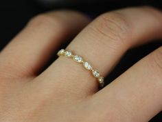 14kt Thin Yellow Gold Leaves Diamond Eternity Band Other Metals And Stone Options Available