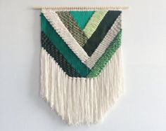 Woven Wall Hanging Dip-Dyed Turquoise Weaving by UnrulyEdges