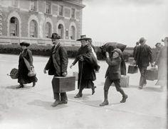 Immigrants arriving at Ellis Island year 1907. by Chromatone, $35.00