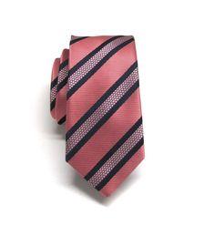 Mens Ties Coral Navy Blue Stripes Skinny Necktie. by TieObsessed