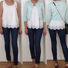 Ann Taylor - love the white tank and cardigan