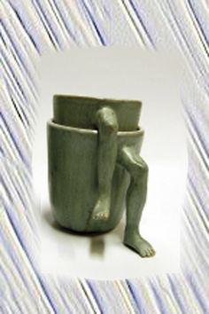 "2 pieces of moody creative ceramic mug ""Love feets"""