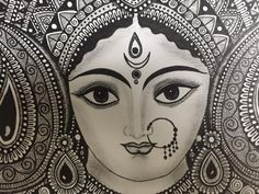Hindu Goddess Durga Home Decor art print image 5 Mandala Art Lesson, Mandala Drawing, Mandala Painting, Durga Painting, Madhubani Painting, Durga Maa Paintings, Art Sketches, Art Drawings, Zentangle Drawings