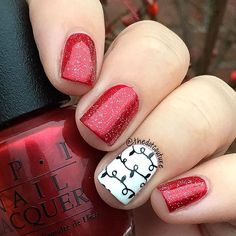 Simple festive nails of the day - @opi_products Ro-man-ce on the Moon and @sinfulcolors_official Snow Me White topped with @chinaglazeofficial Fairy Dust and stamped with @moyou_london Festive Plate 06!