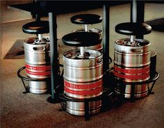 Repurposed metal beer barrels for homemade furniture. Recycling of a barrel as barstool, table or washbasin in the pub. Bar urinals from recycled beer kegs. Barris, Bar Interior Design, Beer Keg, Homemade Furniture, Man Cave Home Bar, Brew Pub, Beer Festival, Man Room, Swivel Bar Stools