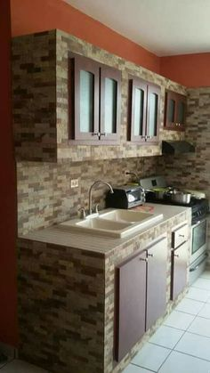 in the house Concrete Kitchen, Kitchen Design Small, Kitchen Cupboard Designs, Kitchen Models, Kitchen Inspiration Design, Small Kitchen Remodel Cost, Kitchen Remodel Design, Rustic Kitchen, Kitchen Remodel Cost