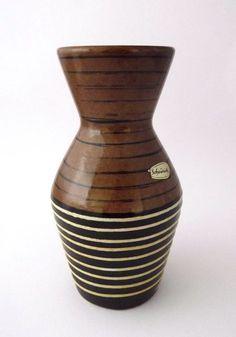 Scheurich vintage striped pottery vase by CzechGlassCollector