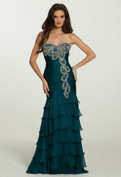 Long Dresses - Tiered Dress with Beading from Camille La Vie and Group USA