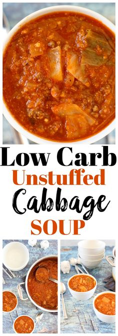 All the delicious flavors of Stuffed Cabbage Rolls, this Low Carb Unstuffed Cabbage Soup is an easier, lower carb version! Clean Dinner Recipes, Clean Eating Recipes, Low Carb Recipes, Cooking Recipes, Healthy Recipes, Diet Recipes, Whole30 Recipes, Diabetic Recipes, Cooking Time