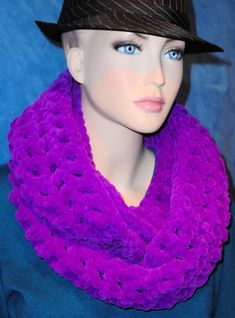 Hey, I found this really awesome Etsy listing at https://www.etsy.com/listing/480683642/purple-crochet-infinity-scarf-crochet