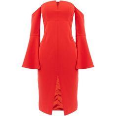 Bardot jasmine longsleeve split dress (€105) ❤ liked on Polyvore featuring dresses, red, women, sweetheart neck dress, bardot dress, sweetheart neckline dress, long sleeve shift dress and red dress
