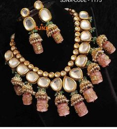 Excited to share this item from my shop: VeroniQ Trends-Royal Look Kundan Necklace With Meenkari Work in Pink and Gold ,Engagement,Party,Function,Jaipur Wedding Jewellery Designs, Fancy Jewellery, Stylish Jewelry, Fashion Jewelry, Diamond Jewellery, Wedding Accessories, Kundan Jewellery Set, Indian Accessories, Jewellery Rings