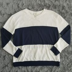 cb1e085549010 Forever 21 Plus Sizes Stripe Lightweight Sweater Shirt Long Sleeve XL