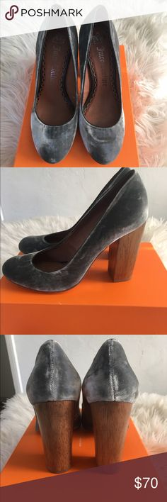 juicy couture grey velvet heels gorgeous heels! they were just too small for me. Good as new. Never worn. Round toed. Thick wooden heel. Material a lux grey velvet material. Juicy Couture Shoes Heels