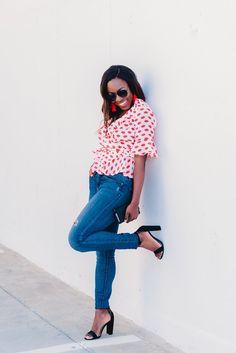 south carolina fashion blogger, goodtomicha, greenville, south carolina, asos, lip print top, wrap top, ruffles, casual outfit inspo, outfit inspo, ootd, summer fashion, summer style,