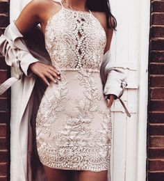 Sexy Spaghetti Strap Embroided Backless Cocktail Bodycon Dress, A-Line Spaghetti Straps V-Neck Dusty Pink Homecoming Dresses,Party dresses Hoco Dresses, Pretty Dresses, Sexy Dresses, Beautiful Dresses, Elegant Dresses, Dress Prom, Bodycon Dress Formal, Summer Dresses, Mini Dresses