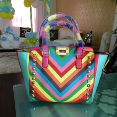 """Colorful Studded Bag Brand new. Reposh. Size: ht- 8"""" . width-10 expands to 13"""" Bags"""