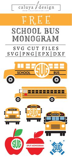 Free School Bus Monogram SVG, PNG, EPS & DXF by Caluya Design. Compatible with Cameo Silhouette, Cricut and other major cutting machines!Perfect for your DIY projects, Giveaway and personalized gift. Cricut Svg Files Free, Cricut Fonts, Cricut Vinyl, Vinyl Decals, Cricut Invitations, Vinyl Projects, Diy Craft Projects, Vinyl Crafts, Shilouette Cameo
