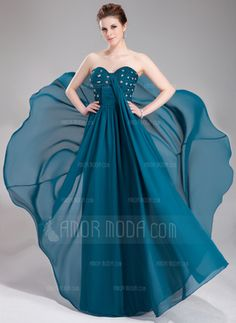 Empire Sweetheart Floor-Length Chiffon Lace Evening Dress With Ruffle Beading Sequins Evening Dresses Plus Size, Chiffon Evening Dresses, Ball Gown Dresses, Dance Dresses, Evening Gowns, Strapless Dress Formal, Prom Dresses, Ruffle Beading, Beaded Lace
