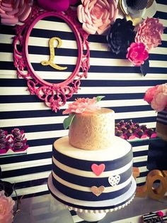 Loving this cake at a black, white, pink and gold  birthday party! See more party ideas at CatchMyParty.com!