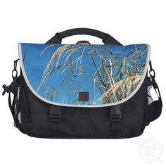 Blue Sky and Beach Grass Laptop Bag ~   A perfect day with blue sky and golden beach grasses on a Rickshaw computer bag.