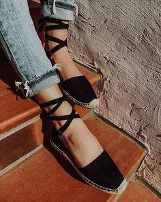 La Jolla Espadrille Wrap Sandal - Black