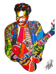 Chuck Berry: POSTER from Original Drawing 18 x 24 by thesent