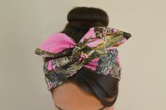 Pink True Tree Camoflauge Wire Dolly bow head band, hair accessory made with 100% cotton Camo. Sewn folded about 33 1/2 long with wiring inside for