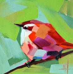"Daily Paintworks - ""Carolina Wren no. 41 Painting"" - Original Fine Art for Sale - © Angela Moulton"