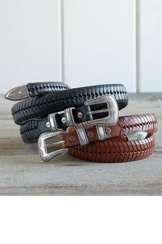 V Lace Handcrafted Leather Belt From Will Leather Goods: Exceptional Casual Clothing for Men & Women from #TerritoryAhead $119.00