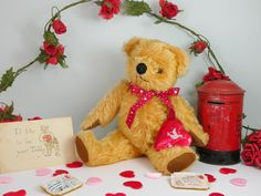 Billy Button hole getting all romantic for Valentines day! C1950 English bear www.onceuponatimebears.co.uk