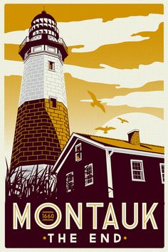 """this is 100% original artwork Montauk Light House Retro Vintage beach Screen Print poster new york  hand screen printed 3 color design.  ARTWORK SIZE IS 12""""X18""""  PRINTED ON VANILLA HEAVY COLD PRESSED ARTBOARD (VERY THICK)  limited run of 50 $19.99"""