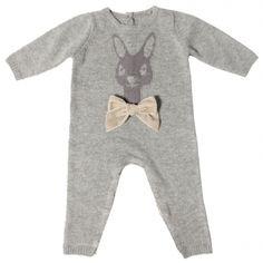 Arsene et les Pipelettes Combinaison Dionée gris chiné rabit and bow knit baby jumpsuit