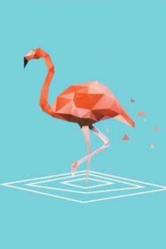 Flamingo Poligonal Mais