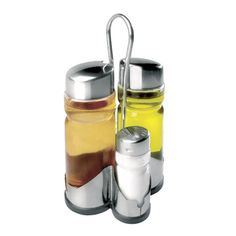 Set de aceitera, vinagrera, salero y pimentero Hd Led, Salt, Water Bottle, Drinks, Metal, Stainless Steel, Glass, Salt Shakers, Kitchen Accessories