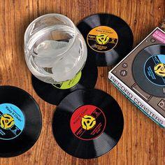 Vinyl Record Coasters (Set of 2) | GEEKYGET