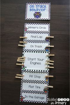 This racing classroom theme behavior clip chart is great to increase positive behavior. It also includes a parent letter, recording sheet, & outstanding stickers for when they have a great day! Classroom Decor Themes, Future Classroom, Classroom Organization, Classroom Signs, Classroom Ideas, Behavior Clip Charts, Behaviour Chart, Behavior Board, Behavior Tracking