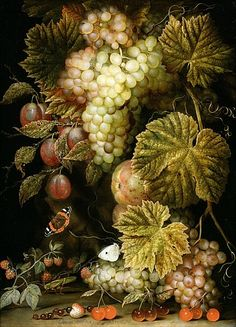 Ottmar the Elder Elliger - Still life of grapes and vines