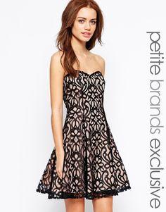 AsosLipstick Boutique Petite Lace Overlay Bandeau Prom Dress
