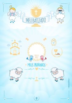 Gabriel e Rafael Baptism Invitation For Boys, Baby Boy Christening, Baby Boy Scrapbook, Baptism Party, Star Baby Showers, Cute Drawings, Gabriel, New Baby Products, Baby Kids