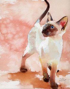 Siamese watercolor by Rachel Parker #Cat lovers - Join http://facebook.com/OzziCat * Get cat #magazine http://OzziCat.com.au