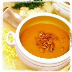 Butternut Squash and Apple Soup with Pumpkin Seeds