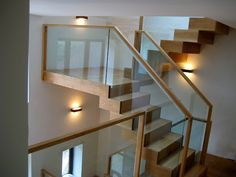 Dorking: Oak stair treads and floating staircase at Zigzag Design Studio - Beautiful contemporary staircases in the UK