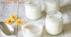 Yaourts au lait de coco. Voici une recette de yaourt sans lactose au lait de coco, avec une texture onctueuse à souhait.. La recette par Dans la cuisine de Gin.