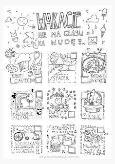plan wakacyjny Hand Lettering, Back To School, Homeschool, Bullet Journal, Teaching, How To Plan, Education, Kids, Printables